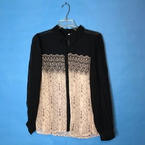 Lauren Conrad Black Cream Blouse M lace pattern